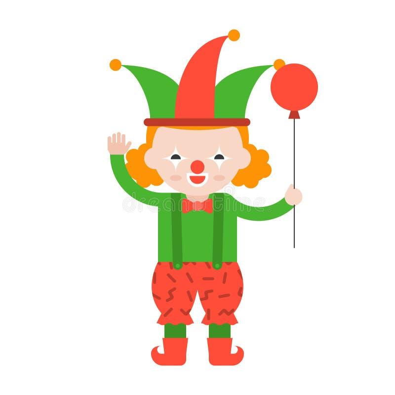 Clown oder Spassvogel mit Ballon, netter Charakter, flacher Entwurf erklären stock abbildung