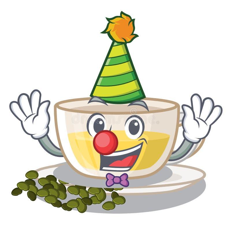 Clown oolong Tee über hölzerner Tabellenkarikatur stock abbildung