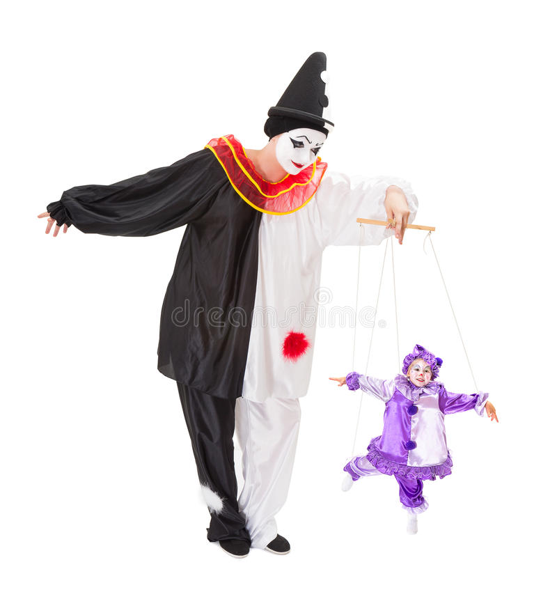 Clown op koorden stock foto