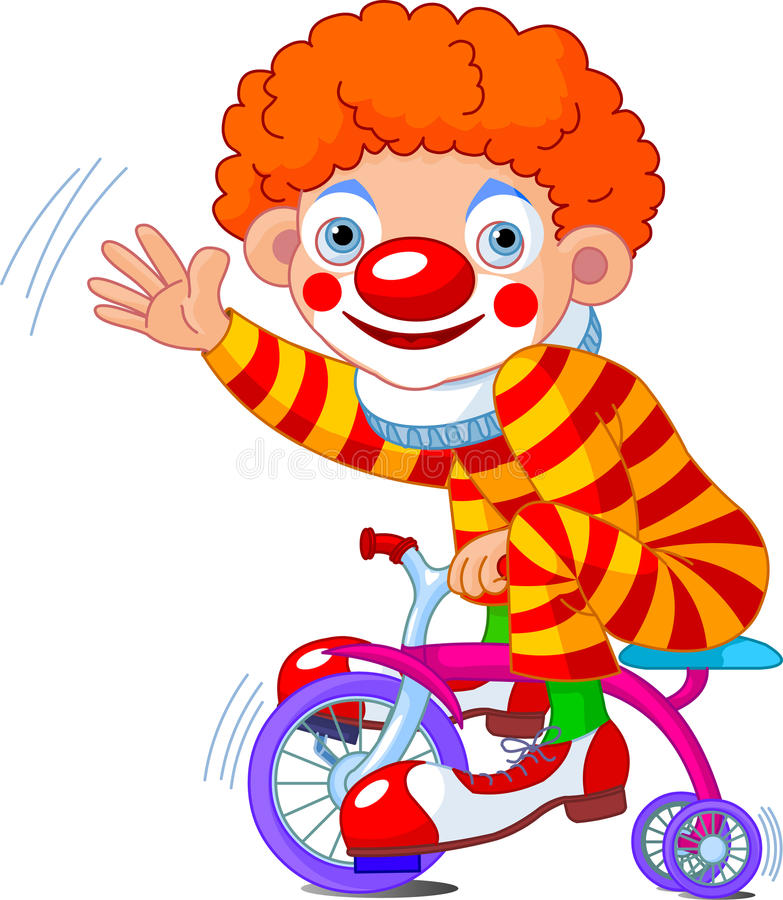 Clown op three-wheeled fiets vector illustratie