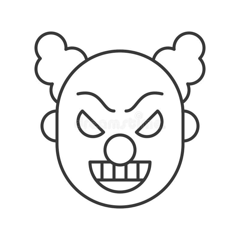 Clown ou joker effrayant, course editable d'icône de caractère de Halloween illustration de vecteur