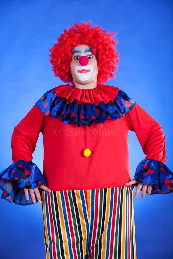 Clown på blå backgound arkivfoton
