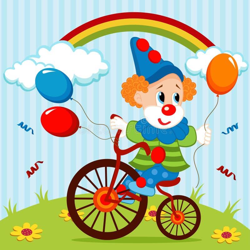 Clown på cykeln vektor illustrationer