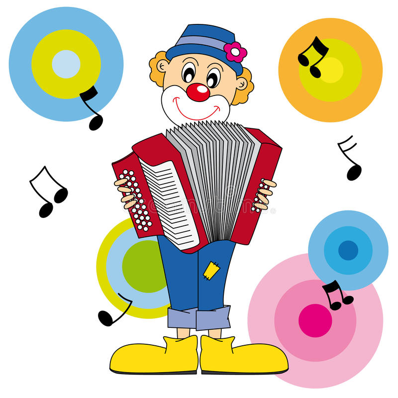 Clown playing the accordion royalty free illustration