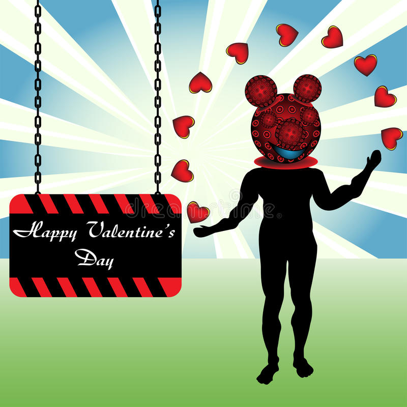 Download Clown Playing With Hearts Stock Image - Image: 12120341