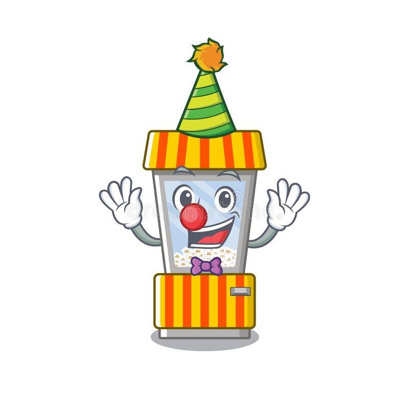 Clown popcorn vending machine in mascot shape. Vector illustration stock illustration