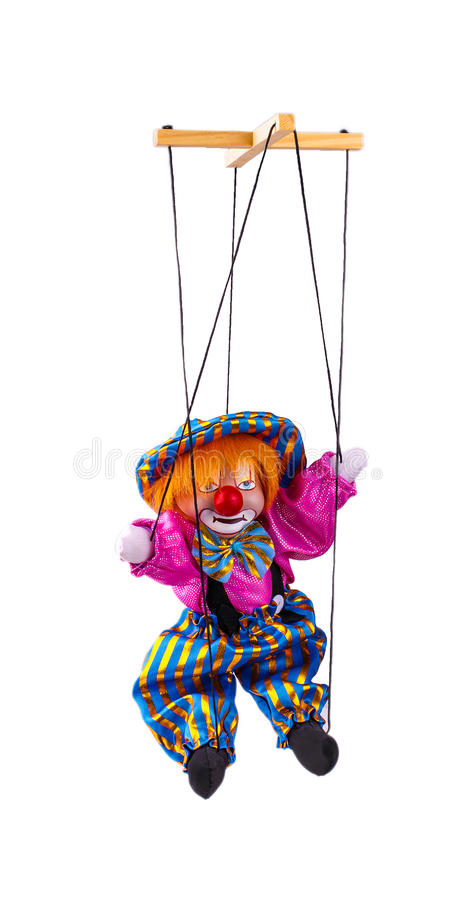 Clown puppet isolated on white background. stock photography