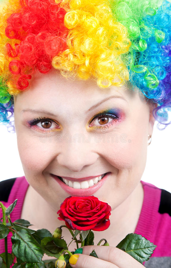 Download Clown With Rainbow Make Up With Rose Stock Photo - Image: 20948008