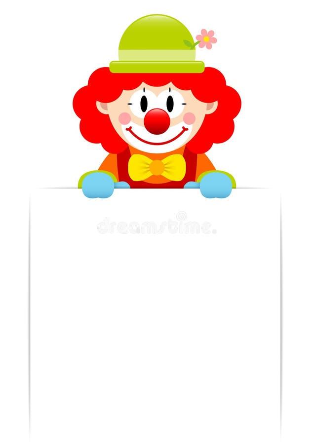 Clown With Red Hair, das weißen leeren Aufkleber hält lizenzfreie abbildung