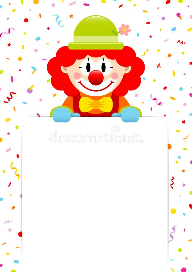 Clown Red Hair Holding Label With Streamers And Confetti vector illustration