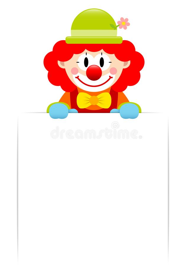 Clown With Red Hair Holding White Blank Label royalty free illustration