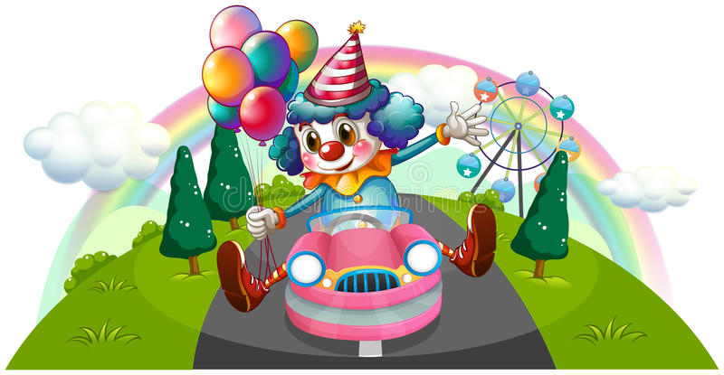 A Clown Riding In A Pink Car With Balloons Stock Photography