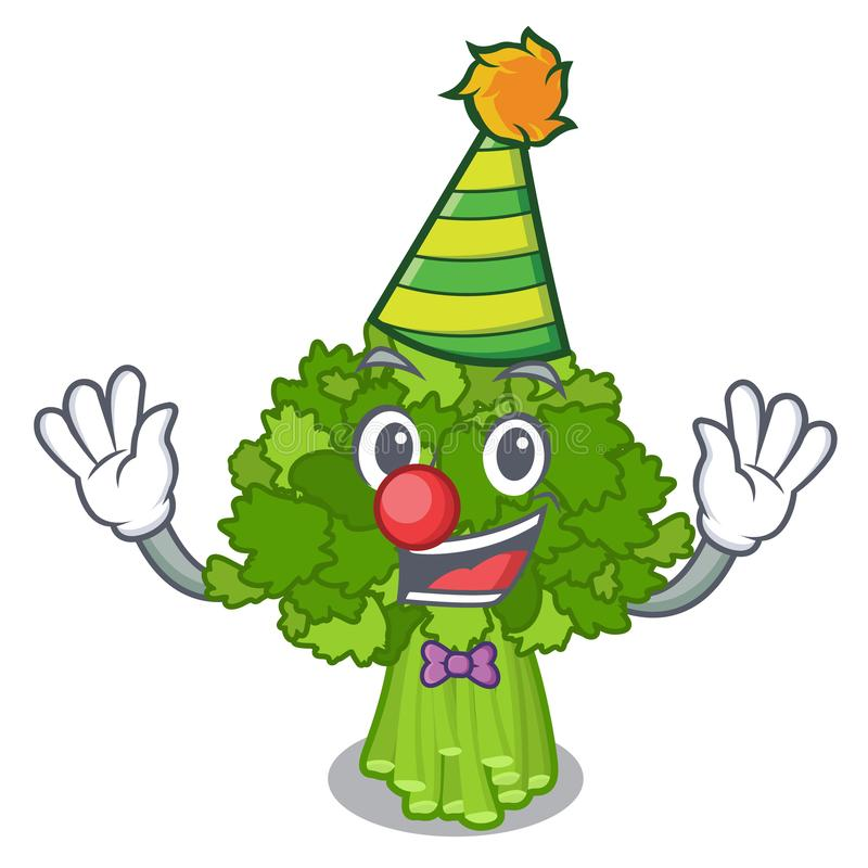 Clown sautieren Brokkoli rabe über Karikaturplatte lizenzfreie abbildung