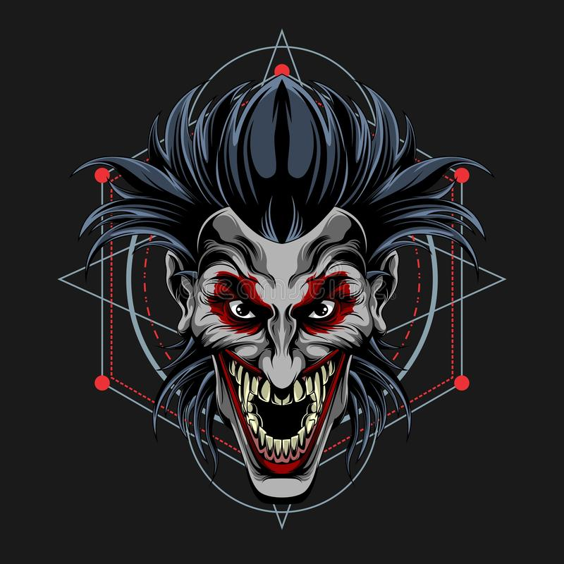 Clown scream halloween royalty free illustration