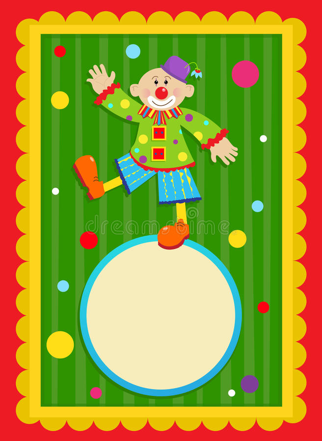 Clown Sign. Cheerful clown is standing on a blank sign in a shape of a ball. With a colorful and decorative background. Eps10 vector illustration