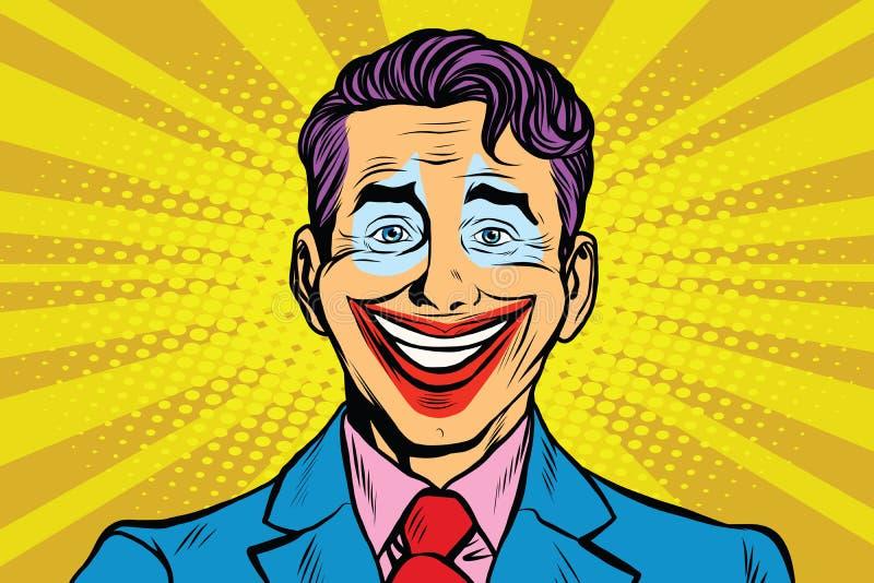 Clown smile joker face stock illustration
