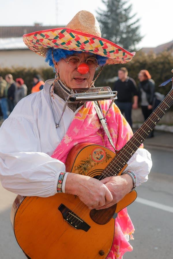 Clown som spelar ett guittar royaltyfri foto