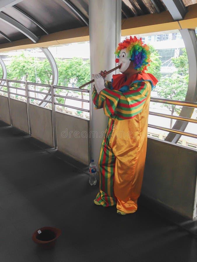 Clown som spelar flöjten royaltyfri foto