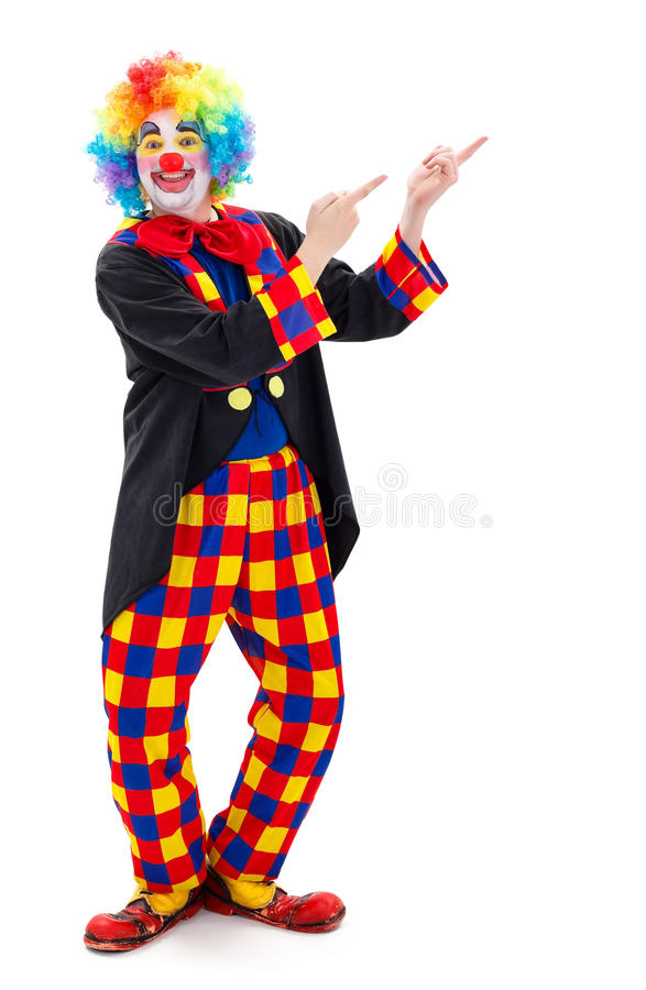 Clown som uppåt pekar royaltyfri foto