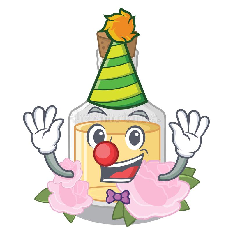 Clown stieg das Öl, das in Karikaturflasche gegossen wurde lizenzfreie abbildung