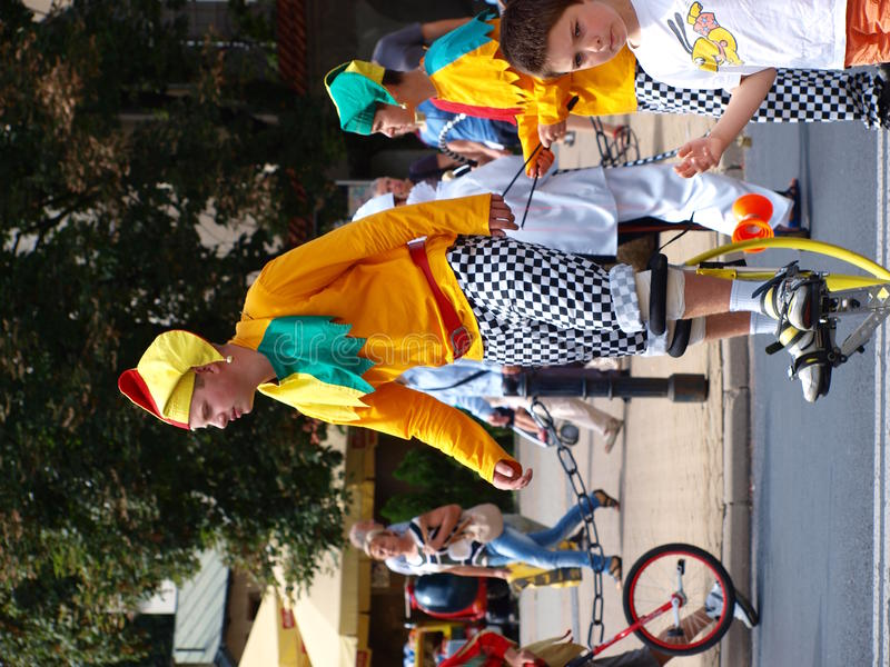 Clown on stilts, Lublin, Poland royalty free stock photo