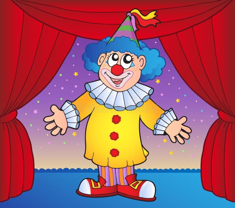 Clown sur l'étape 1 de cirque illustration de vecteur