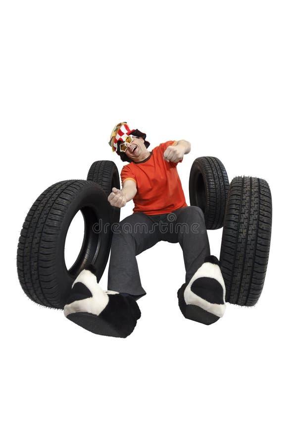 Clown sur le trafic photographie stock