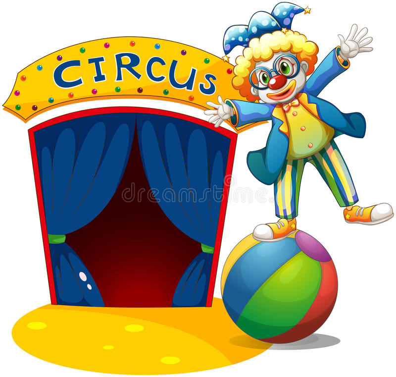 Download A Clown At The Top Of The Ball Beside A Circus House Stock Vector - Illustration: 31912204