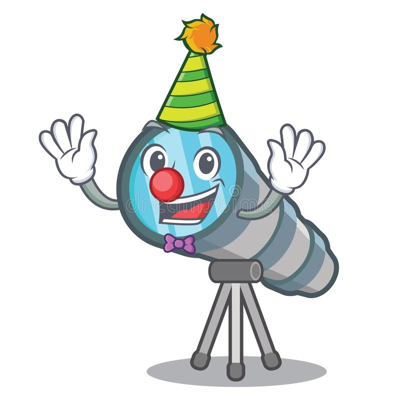 Clown toy telescope in a cartoon chair. Vector illustration stock illustration