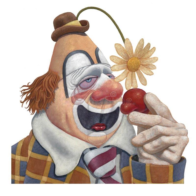 Clown triste avec un froid illustration libre de droits