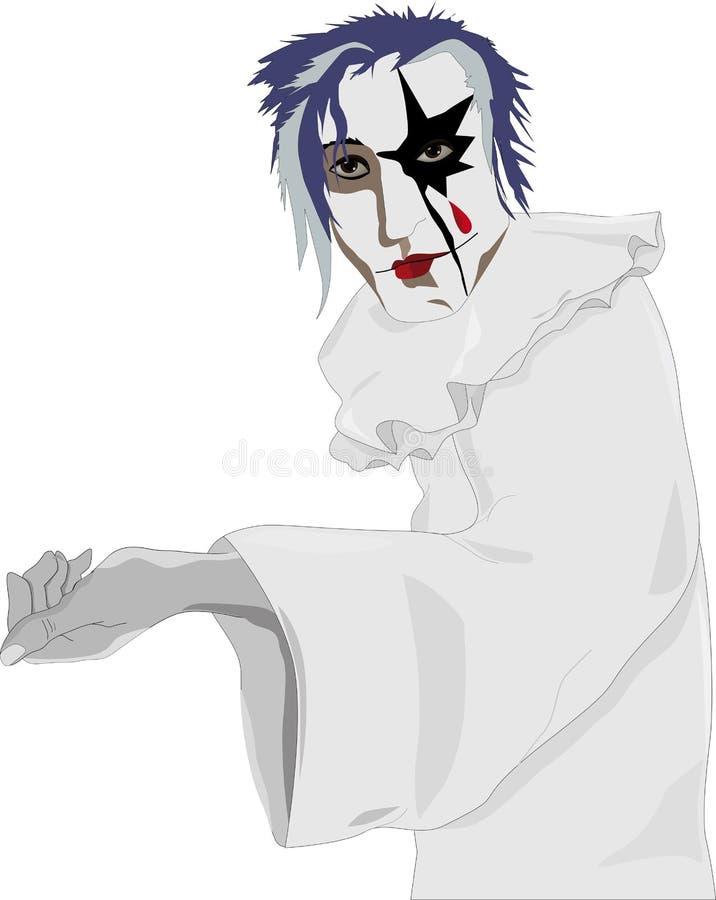 Clown triste blanc illustration libre de droits