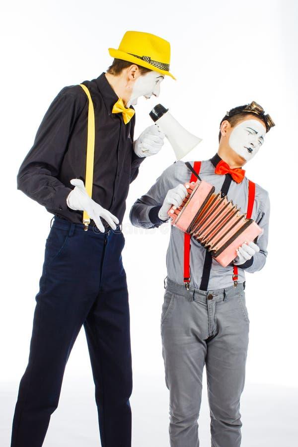 Clown twee, BOOTST, opzichtige Megafoon na De uitdrukking van emoties O royalty-vrije stock fotografie