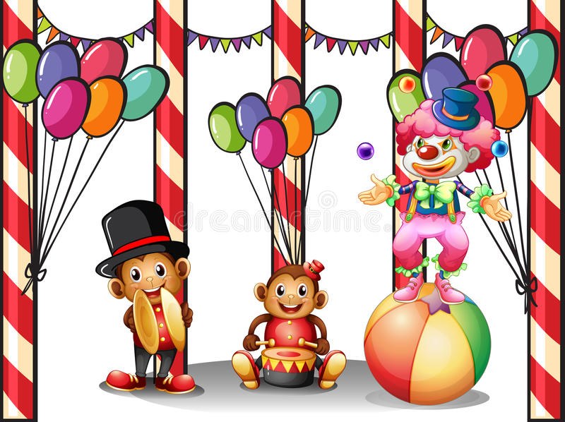 A clown and the two monkeys royalty free illustration