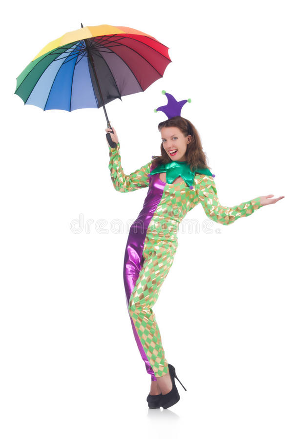 Clown with umbrella. Isolated on white royalty free stock photo