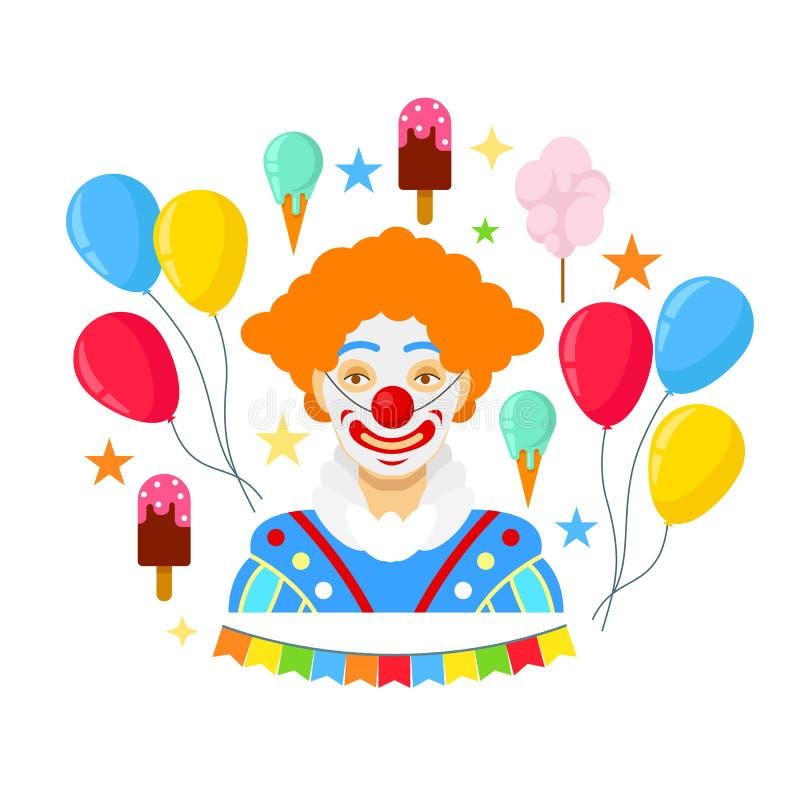 Clown und bunte baloons lizenzfreie abbildung