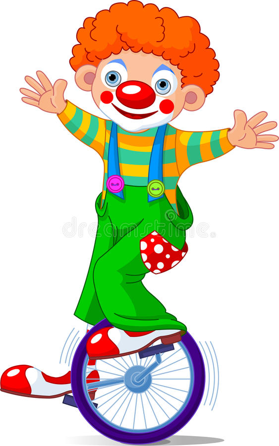 Clown on Unicycling stock illustration