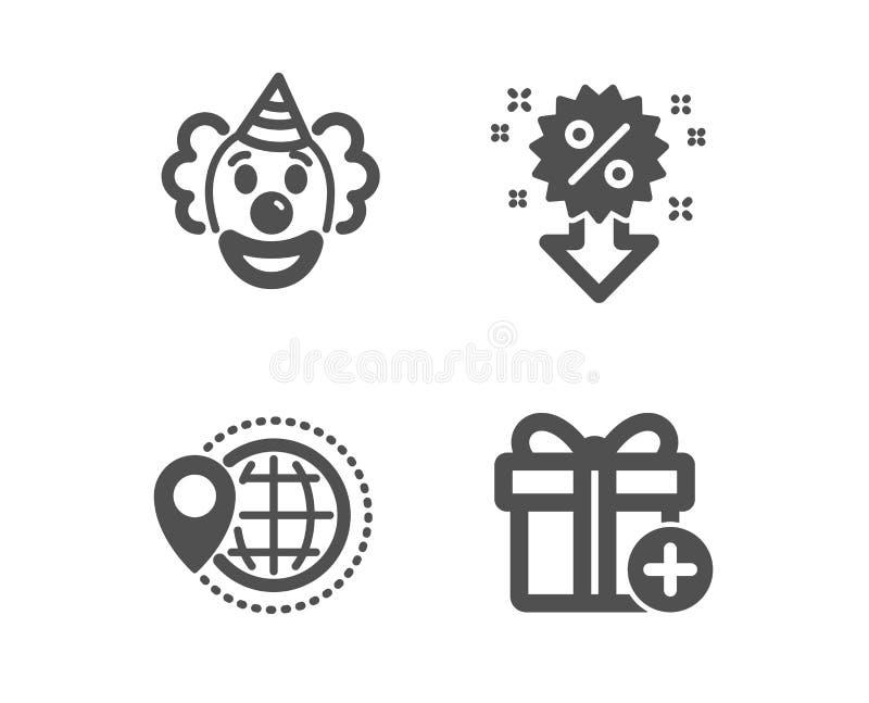 Clown-, världslopp och rabattsymboler Tillfoga g?vatecknet Rolig kapacitet, översiktspekare, Sale shopping vektor stock illustrationer