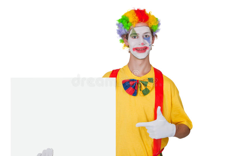 Clown with white billboard royalty free stock images