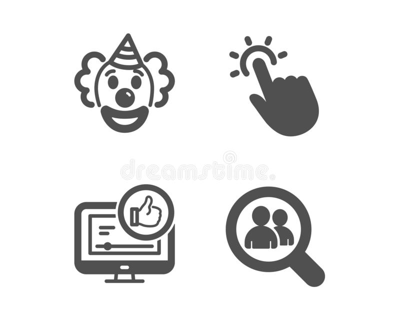 Clown, wie Video und Touchpoint-Ikonen Suchangestelltzeichen Lustige Leistung, greift oben, Notentechnologie ab Vektor lizenzfreie abbildung