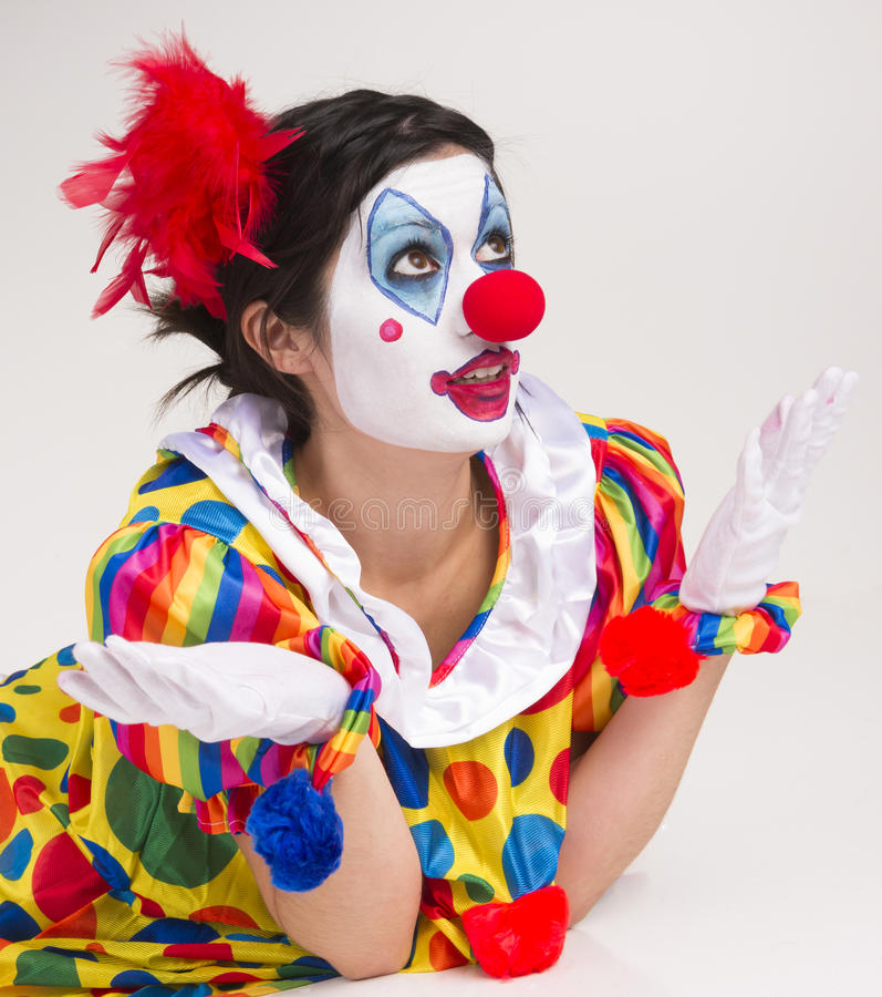 Clown wondering close up portrait bright beautiful female for Face painting clowns for birthday parties