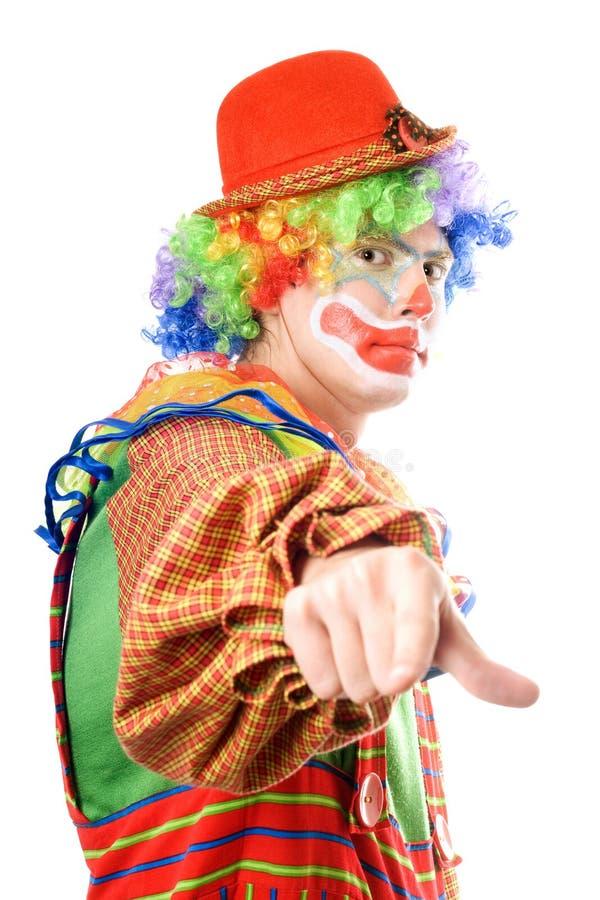 Clown zeigt seinen Finger stockfotos
