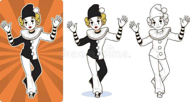 Clown-Zirkuscharakter des Pantomimen weißer vektor abbildung