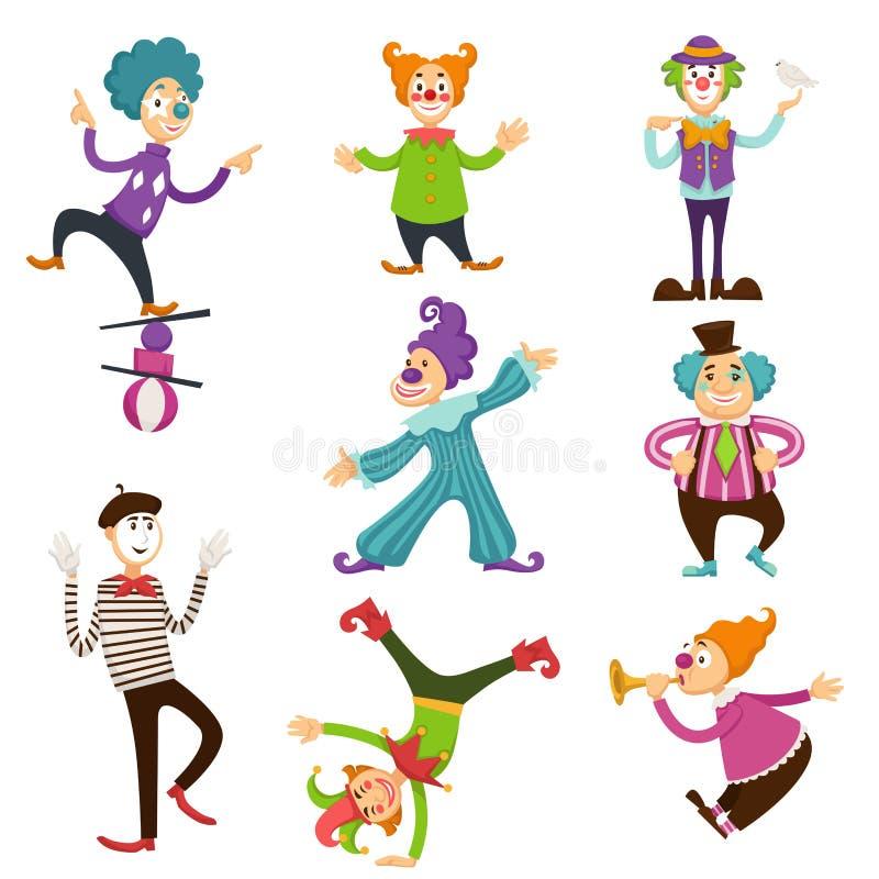Clowne und Pantomimen im Zirkus, der Trickvektorzeichentrickfilm-figuren macht, lokalisierten die eingestellten Ikonen lizenzfreie abbildung
