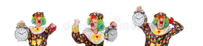 Clownen med klockan som isoleras på vit royaltyfri foto