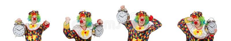 Clownen med klockan som isoleras på vit royaltyfri fotografi