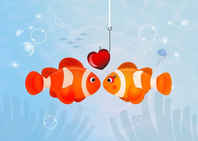 Clownfish ερωτευμένο διανυσματική απεικόνιση