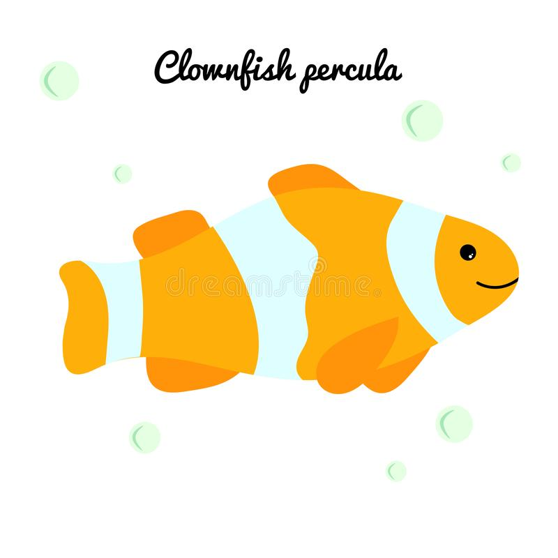 Clownfish Cartoon tropical fish with water bubbles. character smiling happily of sea animal Print for clothes, baby shower stock illustration