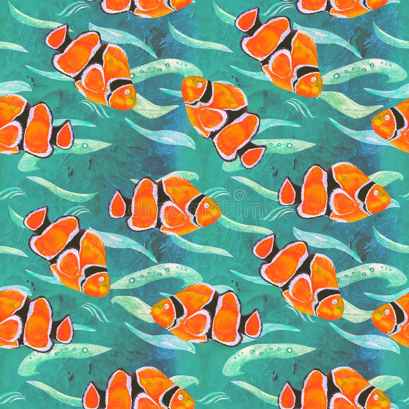 Clownfish hand painted watercolor illustration, seamless pattern on turquoise ocean surface with waves vector illustration