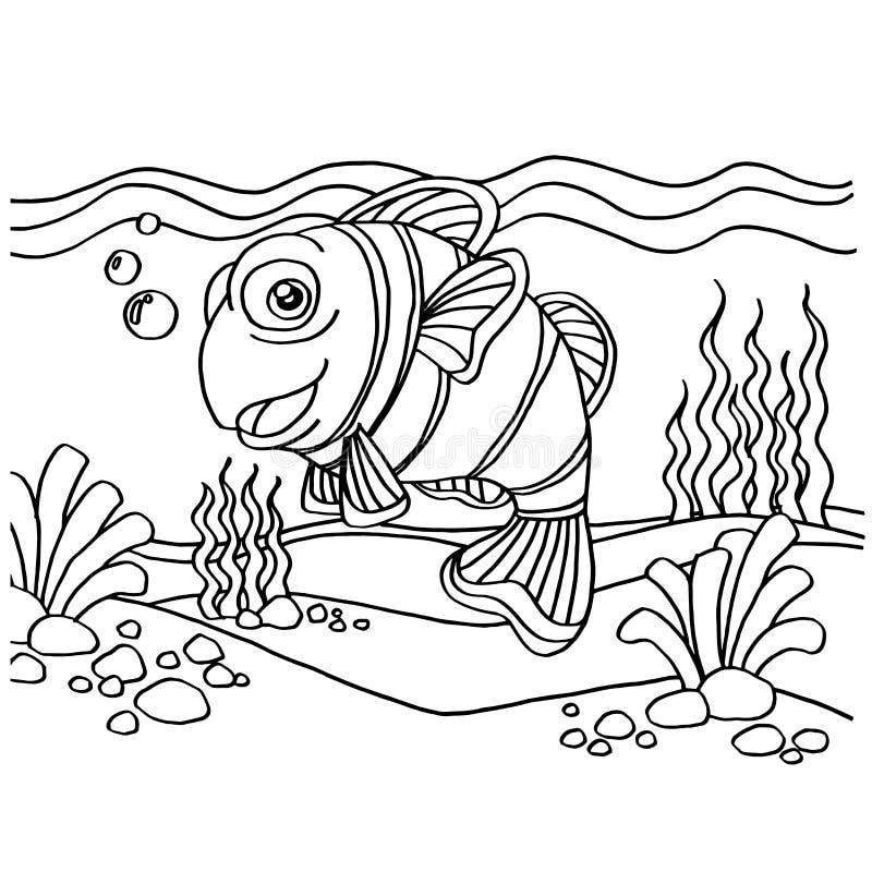 Clownfish het kleuren pagina'svector vector illustratie