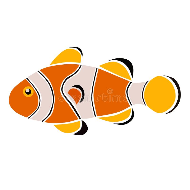 Clownfish i vit och apelsin stock illustrationer